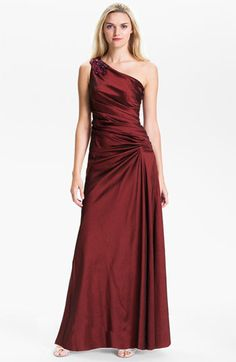 Hailey by Adrianna Papell One Shoulder Pleated Taffeta Gown | Nordstrom