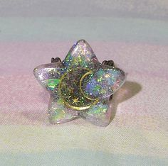 ♥ Fairy Kei Ring, Pop Kei Ring, Pastel Goth Ring, Holographic Ring, Magical Girl Ring, Moon and Star Ring, Soft Grunge Ring ♥  https://www.etsy.com/shop/starlightsparkles