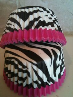 32 Black, White & Pink Zebra Cupcake Liners ECO FRIENDLY! Girls Night Out