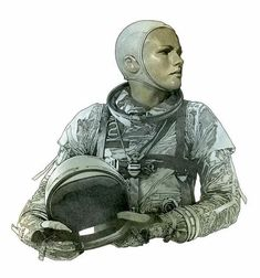 Space Girl by Travis Charest * Character Concept, Character Art, Concept Art, Character Design, Comic Book Artists, Comic Artist, Comic Books Art, Travis Charest, Female Pilot