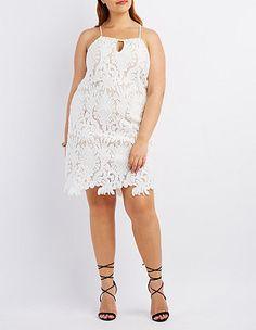 Plus Size Crochet Sleeveless Shift Dress