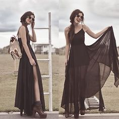 Black Chiffon Draping Dress, Beige And Brown Leather Backpack, Leather Lace Up Pumps, Round Shades - Let's go to an art gallery  - Elle-May Leckenby