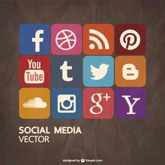 Social media Icons for Illustrator Social Network Icons, Social Icons, Social Media Logos, Social Media Marketing, Inbound Marketing, Marketing Digital, Logo Circular, Vector Design, Web Design
