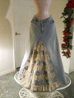 Items similar to Belle Bohémienne ruffled lace jean skirt exquisite vintage French lace fairy goddess Renaissance Denim Couture Made to Order on Etsy Fat Fashion, Denim Fashion, Fashion Outfits, Lace Jeans, Denim And Lace, Hippie Outfits, Modest Outfits, Denim Ideas, Embellished Jeans