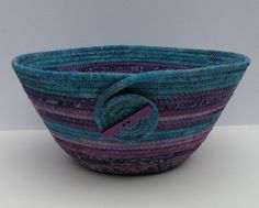 Coiled Fabric Basket, Coiled Fabric Bowl, decorative bowl, turquoise/purple on Wanelo