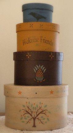 Folk Art Stacked Boxes by PrimitiveDreamer on Etsy, $20.00