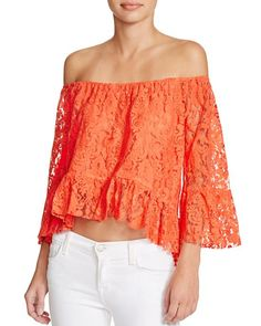 Mustard Seed Off-The-Shoulder Lace Top Women - Bloomingdale's Off Shoulder Blouse, Off The Shoulder, Mustard Seed, Looks Great, Cute Outfits, Clothes For Women, Lace, How To Wear, Shirts