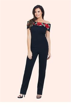 6456265255e Jessica Wright Jordina Black Embroidered Jumpsuit Jess Wright