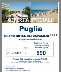 JLAND TRAVEL: SPECIALE PUGLIA TESSERA CLUB E SERVIZIO SPIAGGIA I...