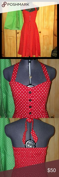 *NEW LISTING* Vintage Polka Dot Halter Dress Iconic Marilyn Monroe 1950's style halter neck dress. Elasticized back to accommodate various chest sizes and ties at neck for desired support. Wear alone or add a stiff peticoat to give the skirt added shape. Unique enamel faux buttons on a sweetheart neckline chest. A staple for any pin up lady. Comment red or green when purchasing. Tags: retro bettie page lindy bop modcloth NOT Voodoo Vixen, listed for similar style and quality. Voodoo Vixen…