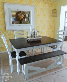 Dining Room Table Re-do from an old table set and bench into a great set.