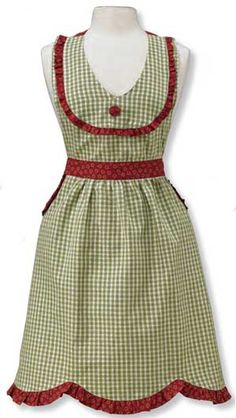 Sunny Day Apron, by Park Designs. Sunny Day features an appliqued and embroidered sunflower design against a background of sage green and cream gingham, with barn red accents. ... http://www.theweedpatchstore.com/weedpatchproducts/sunnydayapron.html