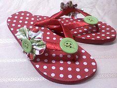 (By Milka) Tags: artesanato havaianas fuxico Presente chinelos Tecido customizadas forradas