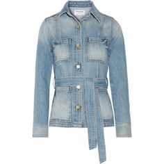 Frame Denim Le Patch Pocket belted denim jacket (6 650 ZAR) ❤ liked on Polyvore featuring outerwear, jackets, denim, coats, coats & jackets, blue, denim jacket, blue jean jacket, blue jackets and belted jacket