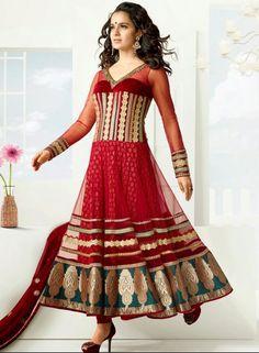Buy Bollywood Designer Kangna Ranaut Anarkali In Buttercream & Maroon $104.24 . Shop at - bollywood-ankle-length-anarkali.blogspot.co.uk/2014/06/buy-bollywood-designer-kangna-ranaut_6.html