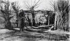 Vincent van Gogh: Woman on a Road with Pollard Willows, The Hague: November, 1882 (Otterlo, Kröller-Müller Museum) F JH 270 Vincent Van Gogh, Van Gogh Art, Art Van, Desenhos Van Gogh, Van Gogh Drawings, Van Gogh Pinturas, Van Gogh Landscapes, La Haye, Male Figure Drawing