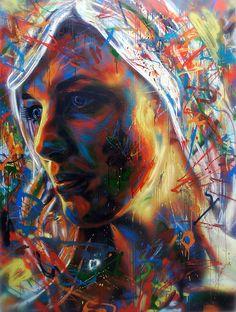 Graffiti : Portrait d'une femme by David Walker David Walker, Walker Art, 3d Street Art, Street Artists, Art Visage, Graffiti Artwork, Lost Art, Art Graphique, Portrait Art