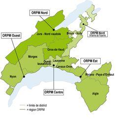 Carte des régions desservies par les Offices régionaux de protection des mineurs