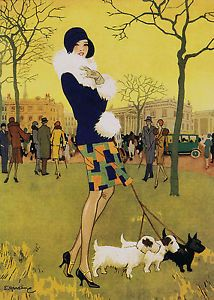 ART DECO LADY walking her highland terrier dogs.A 3 size Poster Print. | eBay