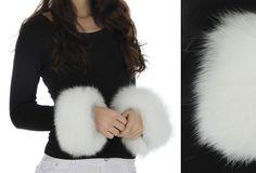 White 100% Real Fox Fur Cuffs Wrist Warmer Adjustable Velcro http://www.bonanza.com/listings/197422779