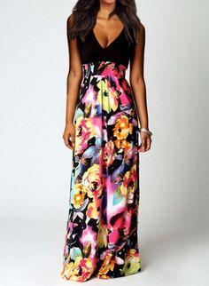 size 40 dd7cc a0d6d Black Bohemian Floral Print V-Neck Dress Boohoo Dresses, Women s Dresses,  Sleeveless Dresses