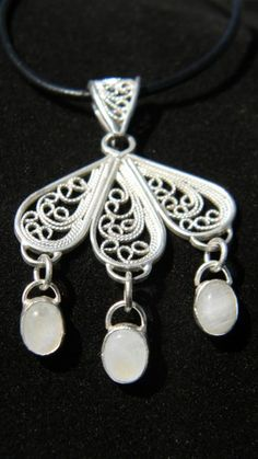 Detailed Handmade Filigree Blue Moonstone Pendant .925 Sterling Silver | Metalmorphos - Jewelry on ArtFire