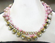 OOAK Handmade White PEARL Pink Beaded 3 Strand by ElegantiTesori