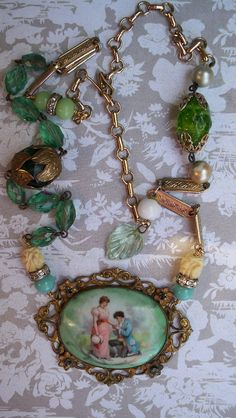 Assembled Necklace Love in the Garden Brass by VintageTraveler
