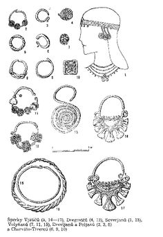 Slavic jewellery from tribe Vjatič (5, 14 -17), tribe Dregovič (4, 12), tribe Severjan (1, 13), tribe Wolin (7, 11, 15), tribe Drevljan and Poljan (2, 3, 8) and tribe Charvat-Tiverc (6, 9, 10)