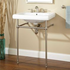 Foyer Powder Room Option Signature Hardware Melus Console Sink With Brass Stand Basin