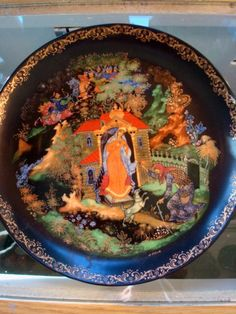 1988 Russian Fairy Tale Plate. Russian Decorative Plate.  Signed