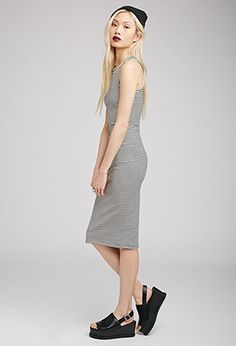 Striped Bodycon Midi Dress   Forever 21 - 2000112242