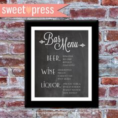 Printable Custom Wedding Bar Menu  - DIY Chalkboard Menu. $15.00, via Etsy.
