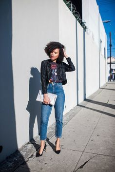 """michael jackson forever - Michael Jackson """"vintage"""" inspired t-shirt from Urban Outfitters paired with """"mom"""" jeans from Topshop, black pumps and a black sequin vintage jacket. STYLE ME GRASIE OOTD street style"""