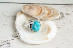 """This """"water ripple"""" 925 silver overlay Larimar ring is perfect for the boho beach princess."""
