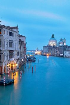 Dusk, Grand Canal, Venice, Italy. Click on photo for home videos and more on Hotels, Restaurants and Things 2 Do.