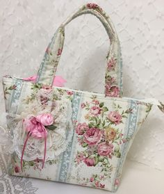 New! Pink Rose Handbag Tote, Shabby Chic Purse Bag, Cottage Roses, cloth purse, zipper, handmade Satin Ribbon Rose Lace, Pink Blue Ivory by LizBagz on Etsy