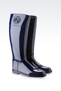 edcd156a7bf0 Armani Jeans Women Rainboot - SHINY RUBBER RAIN BOOTS WITH LOGO AND  SWAROVSKY DETAIL Armani Jeans