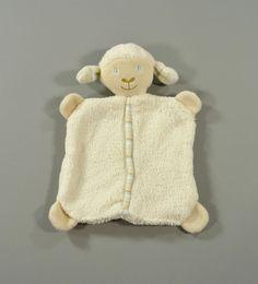 Doudou plat mouton velours doux blanc et beige Baby Club