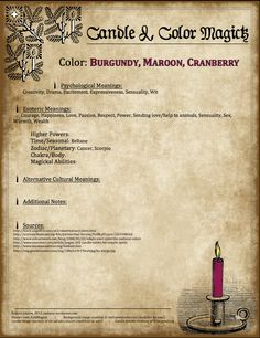 Candles:  #Candle #Color #Magick ~ Burgundy, Maroon, Cranberry.