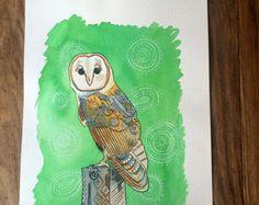 Barn Owl original watercolor painting- bird art- watercolor and ink bird illustration