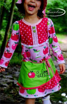 Carlienchen von #pomundpino #stickdatei #zwergenschoen #Äpfel #stoffwelten #kleid