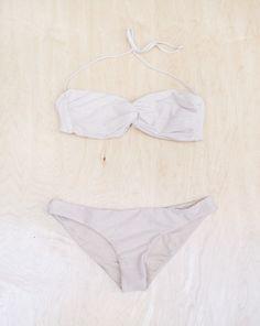 Cali Dreaming Sandy Shimmer Bandeau Top/Classic Bottom Bikini in Nude