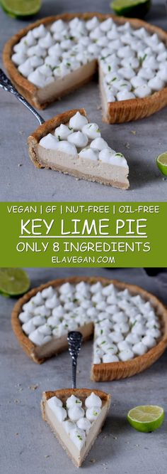 Vegan key lime pie with just 8 ingredients. This dessert recipe is plant-based (egg-free, dairy-free), gluten-free, oil-free, nut-free & refined sugar-free. Lime Desserts, Vegan Gluten Free Desserts, Vegan Dessert Recipes, Tart Recipes, Delicious Vegan Recipes, Amazing Recipes, Healthy Desserts, Vegetarian Recipes, Healthy Sweet Treats