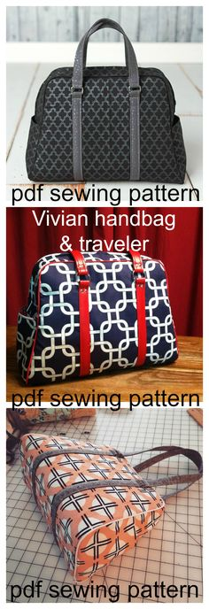 Vivian Handbag & traveler pdf sewing pattern. Vivian has a classic vintage style with a modern appeal. The handbag size is ideal to use daily as a large purse. The traveler can carry everything you need for your next adventure (and probably more). Two exterior slip pockets are perfect for your keys and phone, and one lining zippered pocket for extra organization.