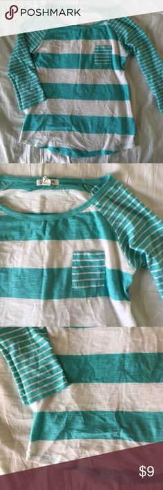 Blue and white striped shirt No flaws. 20% off bundles and excepting all reasonable offers. Three quarter sleeve Aeropostale Tops Tees - Short Sleeve