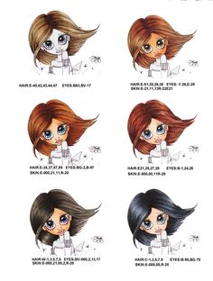 . Hair and skin colors using Copic markers Here are a few of the Copic marker hair and skin colors I use. I will add  more each week. You can find the image at Saturated Canary, I just cropped it so I could color the hair.