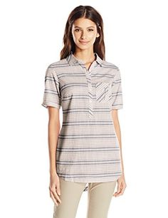 Columbia Sportswear Womens Coral Springs II Woven Short Sleeve Shirt Fossil Stripe Medium ** Find out more about the great product at the image link.Note:It is affiliate link to Amazon.