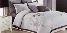 Lavender Leaf Platinum Comforter Set | Linen Shoppe at Furniture Row