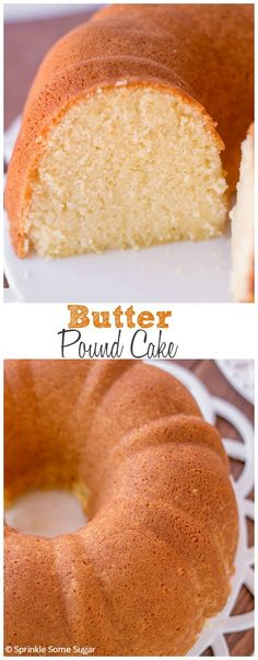 Butter Pound Cake. This pound as such a wonderful velvet-y texture and is loaded with lots of buttery and vanilla flavor. The BEST pound cake ever.